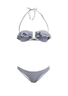 Melissa Odabash Kitts striped ruffle-trim bandeau bikini