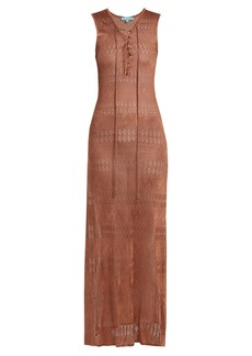 Melissa Odabash Kourtney lace-up pointelle-knit maxi dress