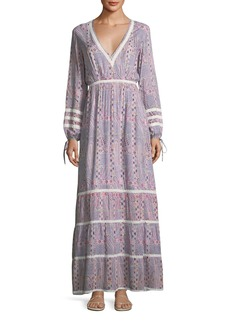 Melissa Odabash Kristen Deep-V Long-Sleeve Paisley-Print Maxi Dress
