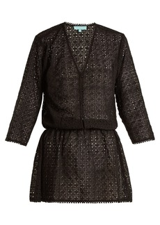 Melissa Odabash Kylie V-neck eyelet-lace dress