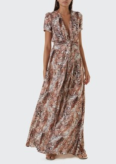 Melissa Odabash Lou Printed Belted Short-Sleeve Maxi Dress
