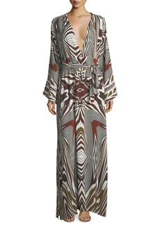 Melissa Odabash Loulou Zebra Long-Sleeve Coverup Dress
