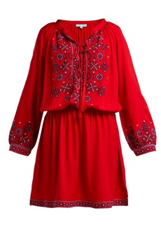 Melissa Odabash Nadja geometric-embroidered crepe mini dress