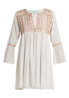 Melissa Odabash Natalia embroidered tie-neck mini dress