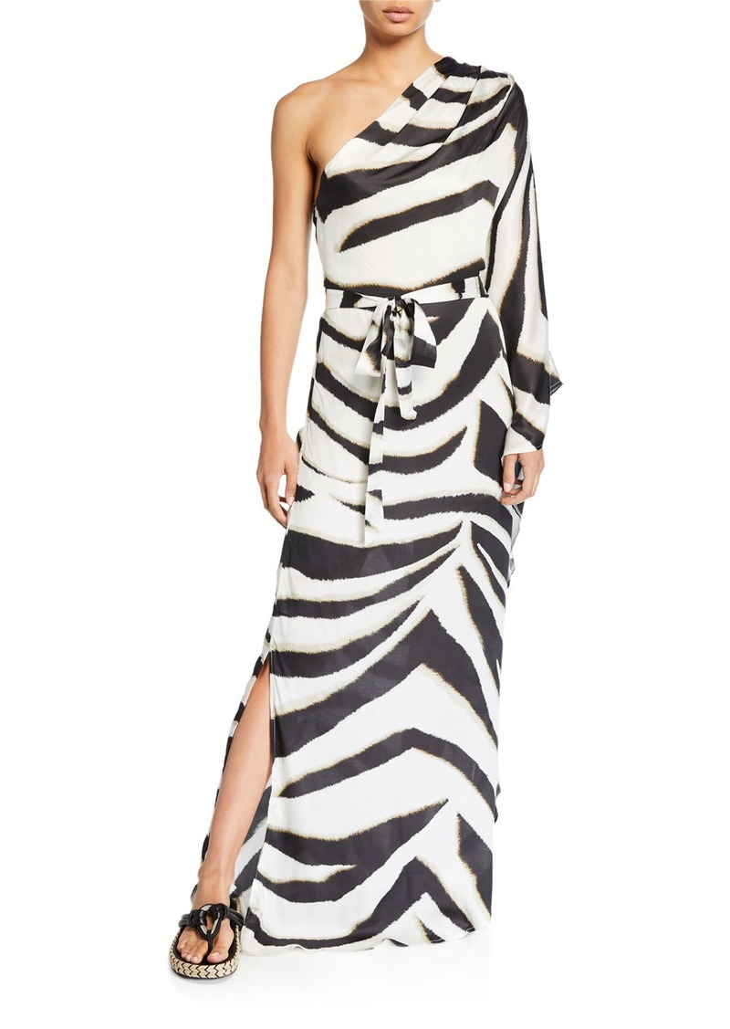 Melissa Odabash One-Shoulder Printed Maxi Caftan
