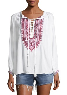 Melissa Odabash Simona Lace-Up Embroidered Top