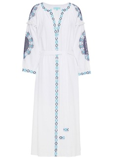 Melissa Odabash Woman Ally Belted Embroidered Cotton-voile Midi Dress White