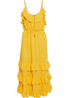 Melissa Odabash Woman Bethan Tiered Ruffled Crepe De Chine Midi Dress Yellow