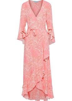 Melissa Odabash Woman Cheryl Ruffled Printed Voile Maxi Wrap Dress Coral