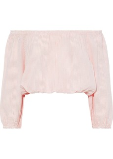 Melissa Odabash Woman Dannah Off-the-shoulder Striped Cotton-seersucker Top Blush