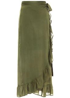 Melissa Odabash Woman Danni Ruffled Voile Midi Wrap Skirt Army Green