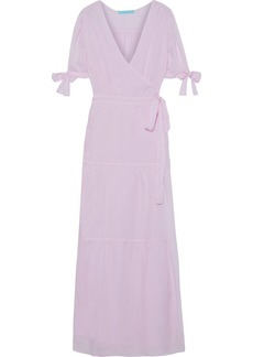 Melissa Odabash Woman Emily Gathered Voile Maxi Wrap Dress Lilac