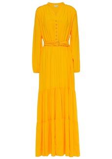 Melissa Odabash Woman Sonja Belted Crepe De Chine Maxi Dress Saffron