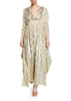 Melissa Odabash Metallic V-Neck Coverup Maxi Dress
