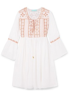 Melissa Odabash Natalia embroidered voile mini dress