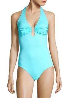 Melissa Odabash One-Piece Deep V-Neck Swimsuit