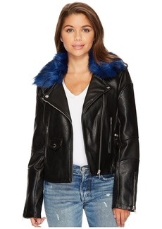 Members Only Blue Fur Rocker Jacket