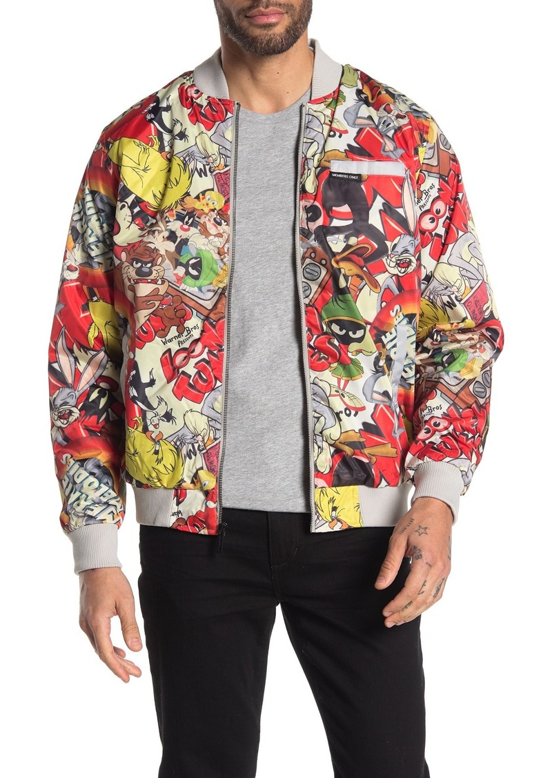 Members Only Looney Tunes Printed Bomber Jacket