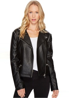 Members Only Faux Leather Moto Jacket Vest