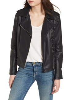 Members Only Lace-Up Faux Leather Biker Jacket