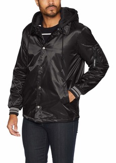 Members Only Men's Coach Jacket with Detachable Hood  M