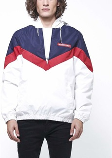 Members Only Men's Colorblock Pullover Half-Zip Hooded Jacket red XL