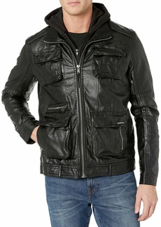 Members Only Men's L-Train Leather Jacket  M