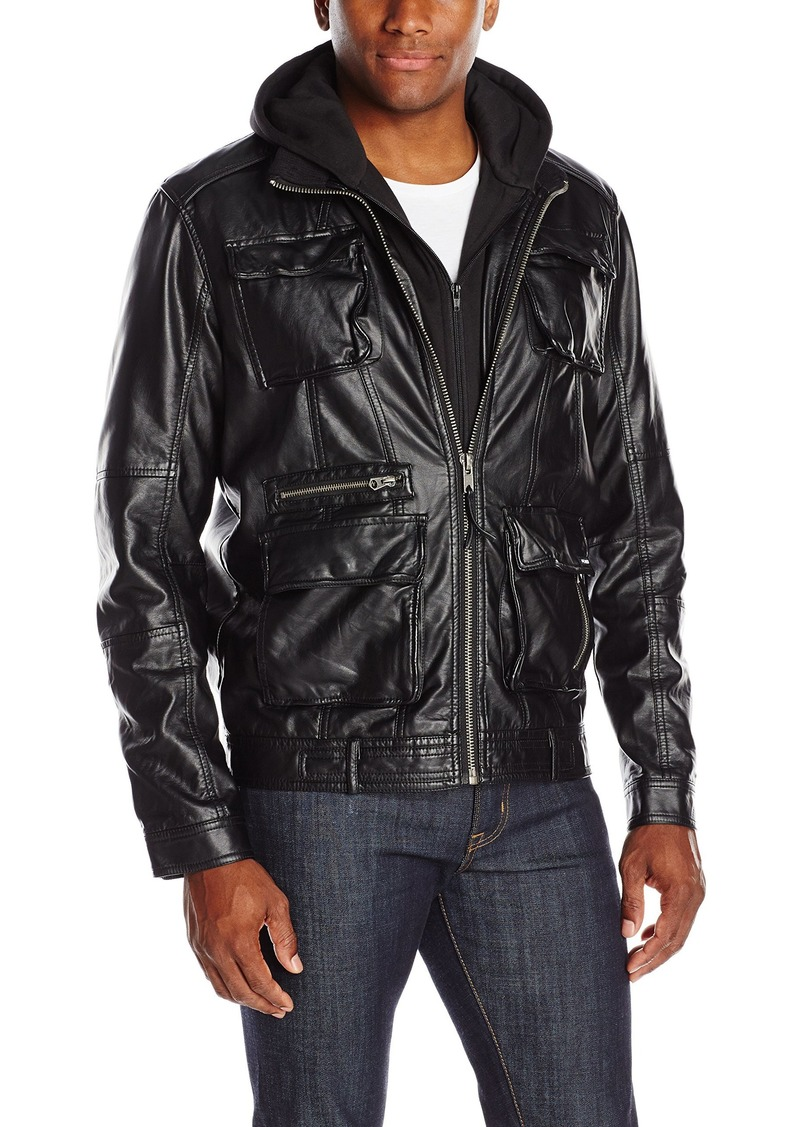 Members Only Men's L-Train Leather Jacket  XL