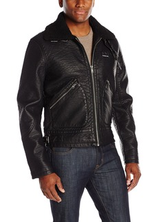 Members Only Men's Military Leather Jacket with Sherpa Collar  L