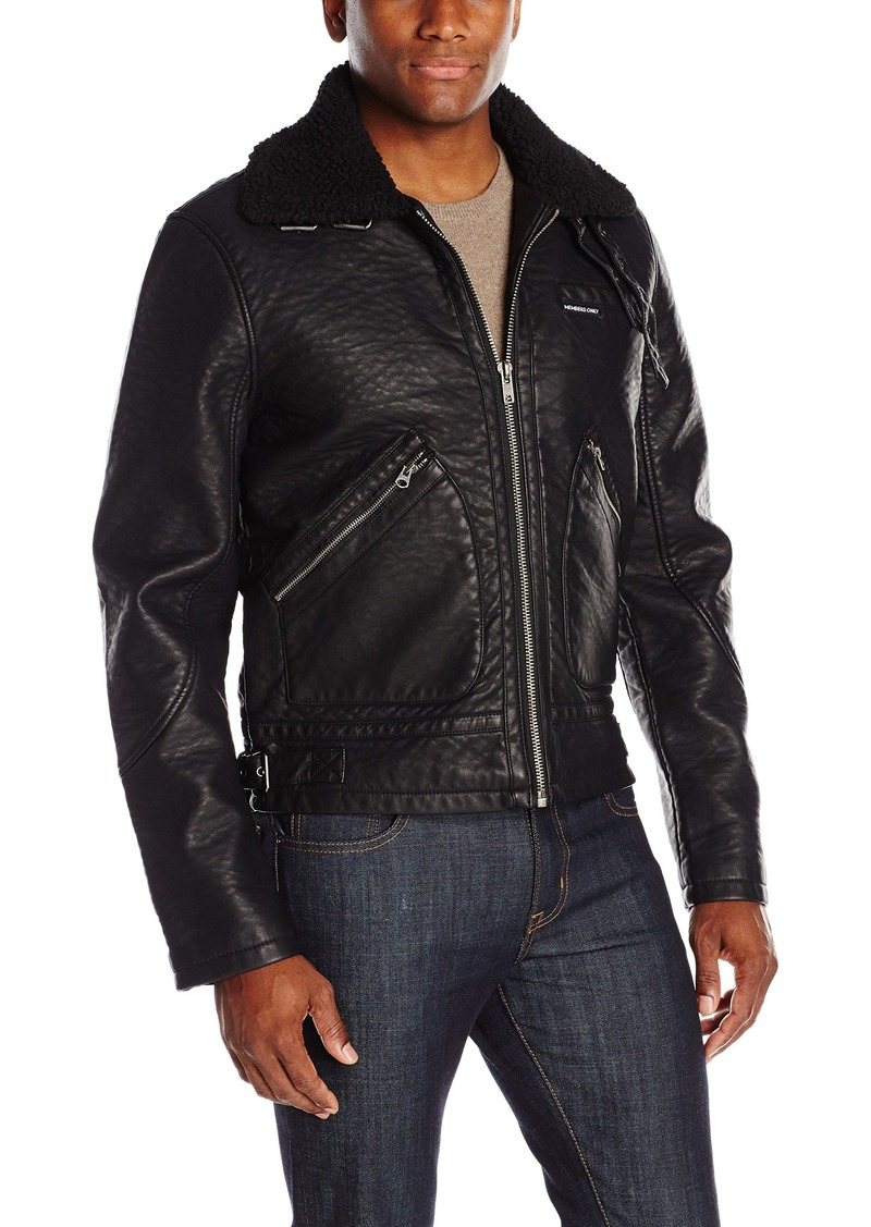 3870faf71 Men's Military Leather Jacket with Sherpa Collar M