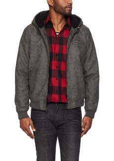 Members Only Men's Vegan Leather Hooded Bomber Jacket  L