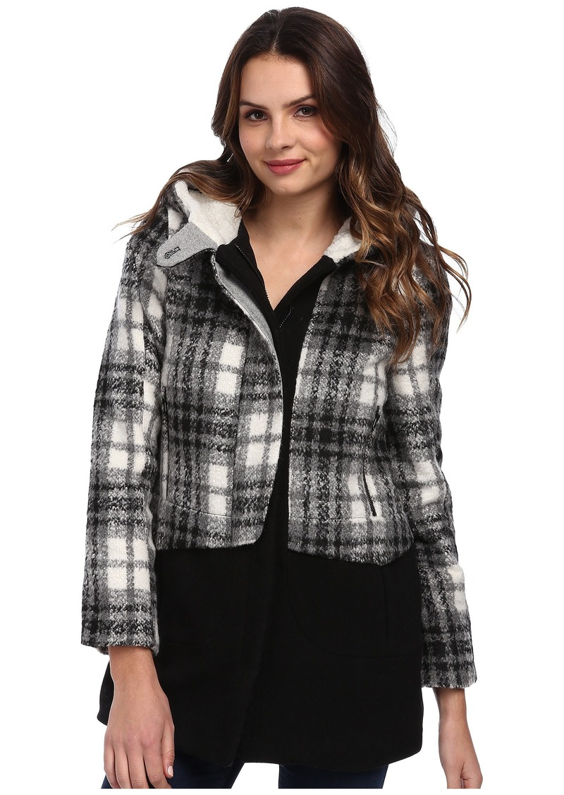 Members Only Oversized Color Block Wool Blend Coat