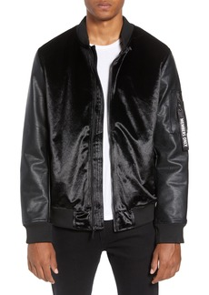 Members Only Velvet Bomber Jacket with Faux Leather Sleeves