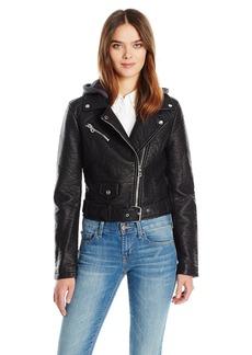 Members Only Women's Cropped Moto Jacket W Hood  L