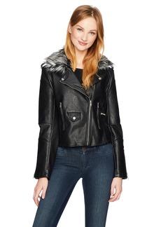 Members Only Women's Faux Fur Biker Jacket  Extra Large