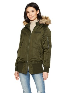 Members Only Women's Faux Fur Hooded Bomber Jacket