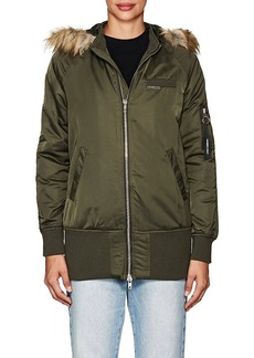 Members Only Women's Faux-Fur-Lined Elongated Bomber Jacket