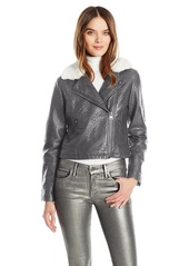 Members Only Women's Faux Leather Moto Jacket with Contrast Faux Fur Collar  L