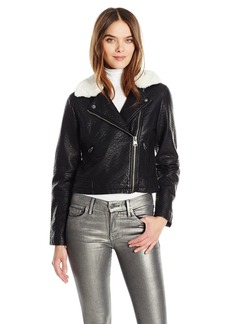 Members Only Women's Faux Leather Moto Jacket With Contrast Faux Fur Collar  S