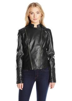 Members Only Women's Faux Leather Two Zipper Racer Jacket  L