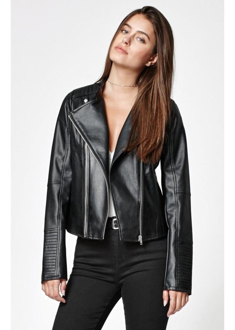 Members Only Women's Faux Leather Two Zipper Racer Jacket  XL