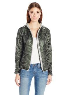 Members Only Women's Fleece Lined Packable Windbreaker Coat with Adjustable Hood  M