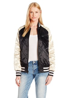 Members Only Women's Floral Blossom Souvineer Varsity Jacket Black/Champagne M