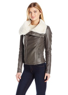 Members Only Women's Leather Moto Jacket with Faux Fur Collar  XL