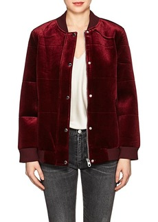 Members Only Women's Quilted Velour Bomber Jacket
