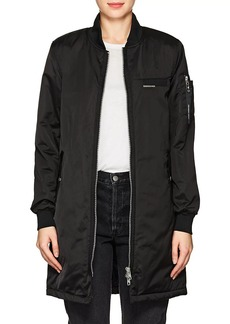 Members Only Women's Satin Elongated Bomber Jacket