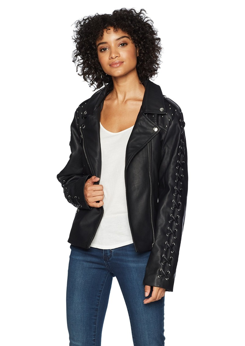 Members Only Women's Vegan Leather Laced Biker Jacket Black/Sleeve