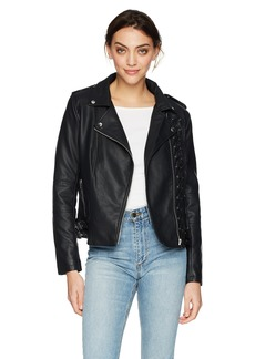 Members Only Women's Vegan Leather Laced Biker Jacket  Extra Small