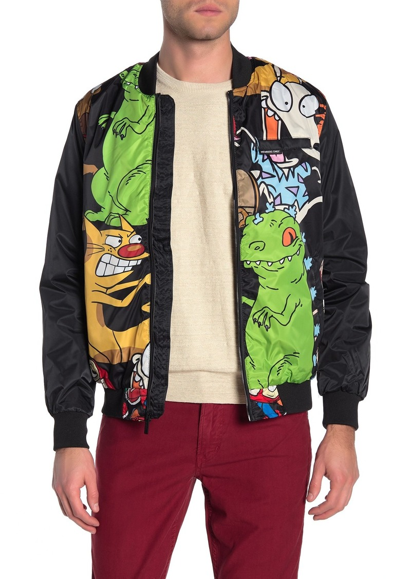Members Only Nickeloden Front Zip Bomber Jacket