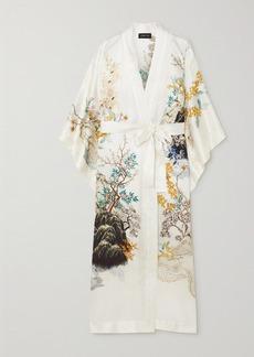 Meng Belted Printed Silk-satin Robe